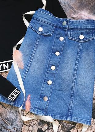 Трендовая джинсовая юбка на пуговицах s/m denim co