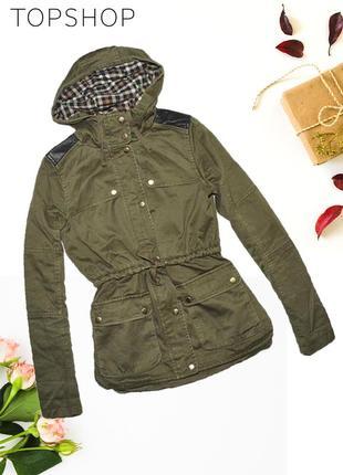 Куртка хаки с кожаными плечами и капюшоном topshop