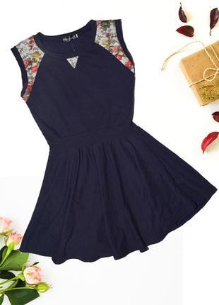 Синее платье с цветочными вставками yubei tianzi