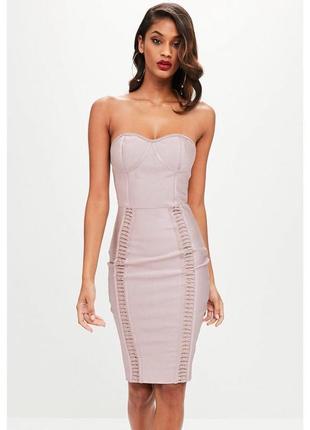 Плотное бандажное миди платье с фурниторой, красивый пудровый цвет