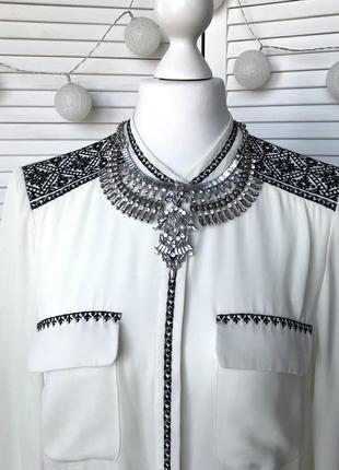 Шифоновая блуза молочного цвета с вышивкой орнамент autograph
