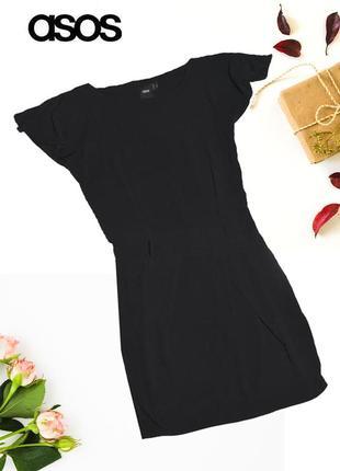 Черное платье с разрезами на плечах asos