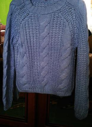 Очень красивый свитер оверсайз с косами крупной вязки  голубого цвета
