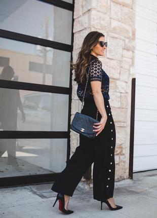 Модные широкие брюки штаны с кнопками по бокам и карманами m-l