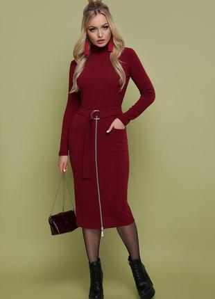 Тёплое  миди платье по фигуре цвета марсала,бордовое шерстяное поатье с молнией.