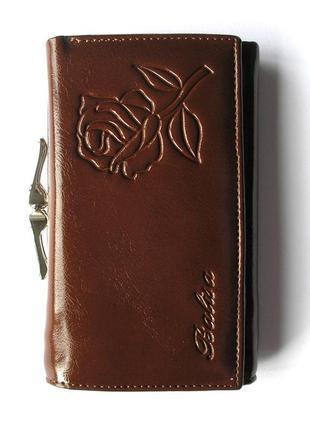 Кожаный кошелек портмоне шоколадная роза, 100% натуральная кожа, есть доставка бесплатно