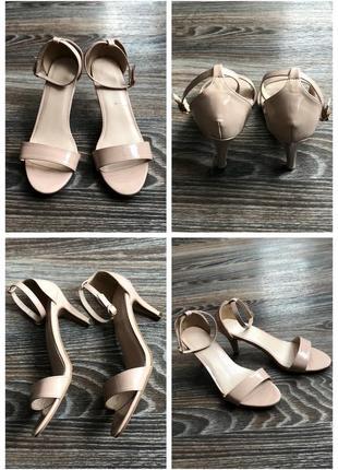 Бежевые лаковые лакированные туфли босоножки на низком каблуке шпилька от avenue