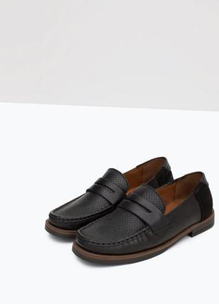 Распродажа.кожаные туфли,мокасины zara boys 26 р. зара