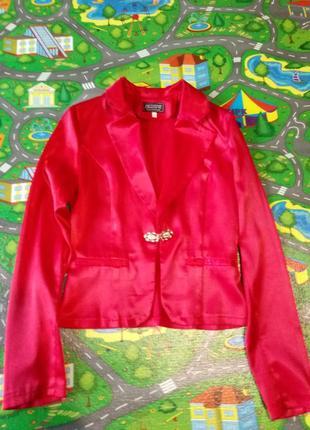 Пиджак красный атлас