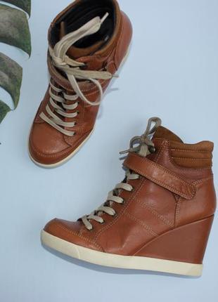 39 25,5см london buffalo кожаные ботинки на танкетке ботильоны сникерсы