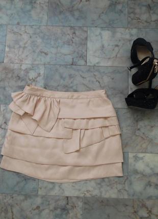 Атласная мини юбка topshop