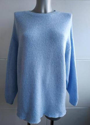 Джемпер asos пастельно голубого цвета свободного кроя оверсайз с необработанным низом.