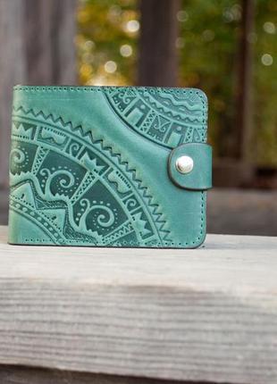 Кошелек маленький кожаный женский зеленый с тиснением орнаментом