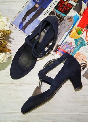 Manfield! замша/кожа! красивые туфли лодочки на устойчивом каблуке