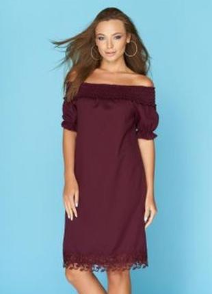 Платье летнее на плечиках с кружевом цвет марсала