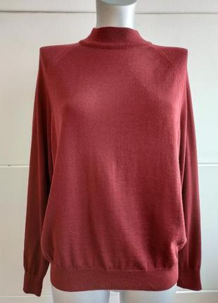 Шерстяной свитер country collection бордового цвета100% шерсть мериноса