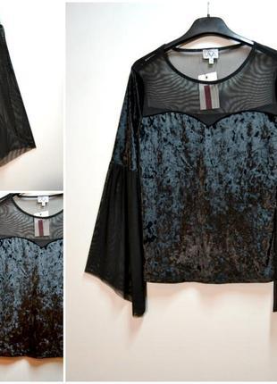 Роскошная черная блуза велюр с расклешенным рукавом