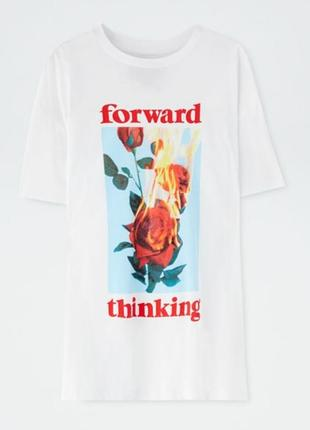 """Стильная футболка pull&bear с принтом """"роза и огонь"""""""