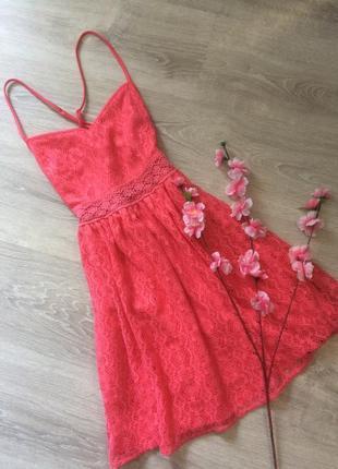Розовое кружевное платье new look