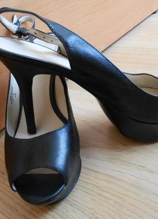 Черные туфли nine west босоножки на шпильке высоком каблуке платформа кожаные стелька 25,5