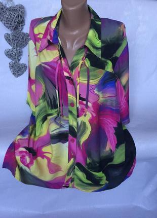 Шикарная яркая блуза рубашка  chalou вискоза 100%