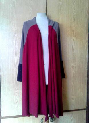 Катоновый кардиган бордово -серый, s-l.