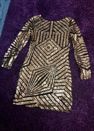 Платье золото паетки