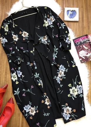 Модный кардиган плащ в цветы сток f&f