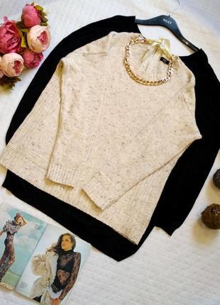 Меланжевый свитер в косы оверсайзс шерстью размер 18 (46-48)