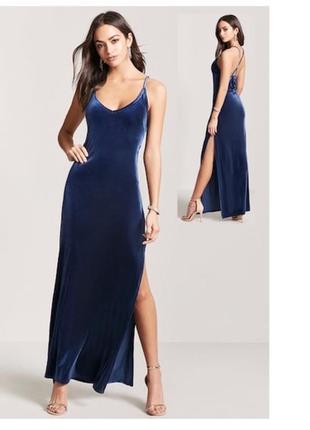 Бархатное синее вечернее платье forever 21