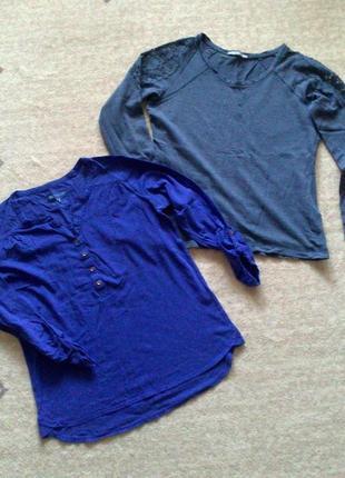 42р. синие кофты комплектом, хлопок и вискоза цена за 2 шт. tu, m&s