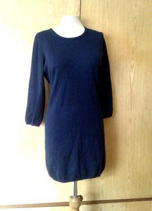 Синее вискозное платье - свитер, м-xl.