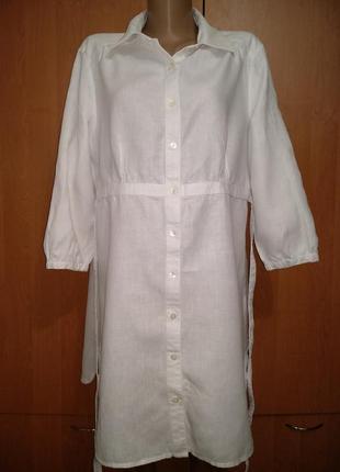 Крутое льняное платье - рубашка лен пог 58 см