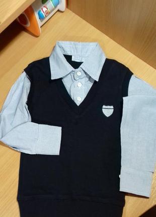 Нарядная рубашка обманка на мальчика