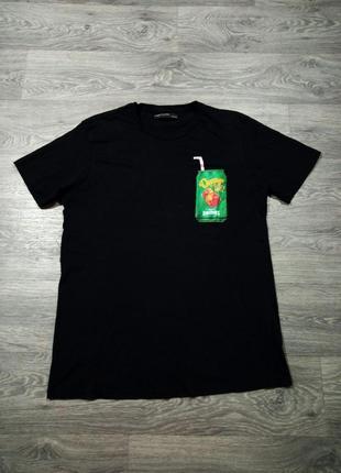 Черная футболка с карманом в виде банки сока, футболка с оригинальным принтом