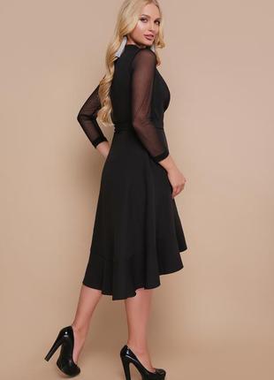 Шикарное черное женское платье на запах3 фото
