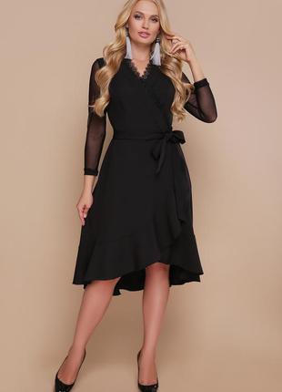 Шикарное черное женское платье на запах2 фото