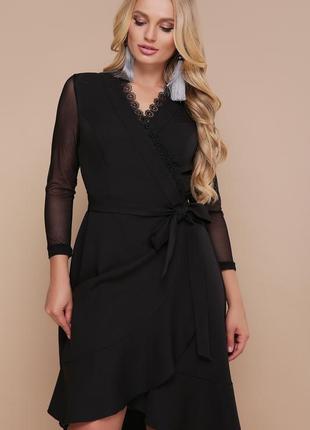 Шикарное черное женское платье на запах1 фото