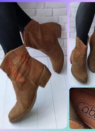 38р замша!новые испания cable,рыжие ботинки,ковбойки