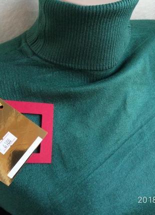 Гольф водолазка свитер воротник под горло кашемир  изумруд бутылка турция2 фото