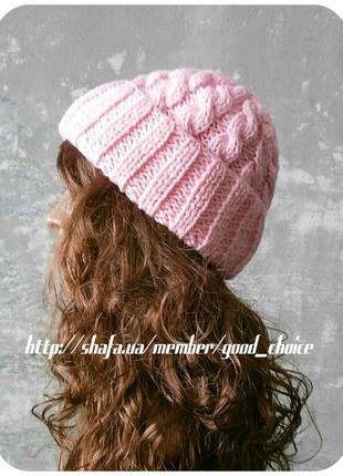 Любая расцветка! хлопковая шапка с отворотом/косы/нежно-розового цвета
