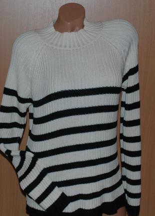 Элегантный  свитер бренда lindex /100% хлопок/ цвет молочно- черный/