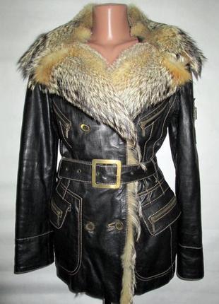 Куртка,курточка , натуральная кожа-мех волк! 42-44р