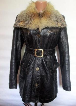 Куртка,курточка , натуральная кожа-мех волк! 44-46р