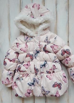 M&s стильная  зимняя куртка на девочку 1,5-2 года
