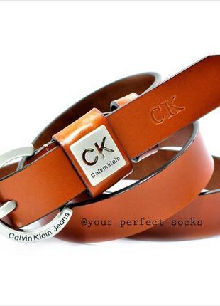 Ремень женский кожа calvin klein, пояс кожаный + носки в подарок