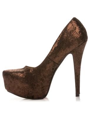 Стильные золотые коричневые туфли на шпильке 24см