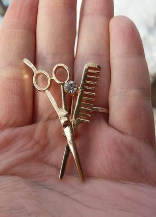 Брошь парикмахерская ножницы расческа