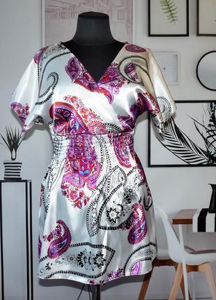 Блуза-туника сатиновая с принтом пейсли