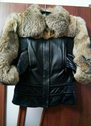 Распродажа!🐞дизайнерская меховая черная кожаная куртка р.44/46#на змейке.скидка
